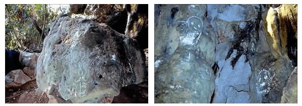 Petroglifos vandalizados en la guacara de Emilio o de Hernando Alonzo