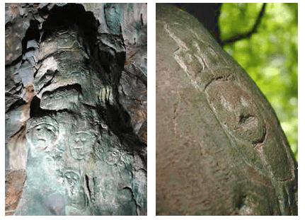 Petroglifos de la guacara de Los Caluche.