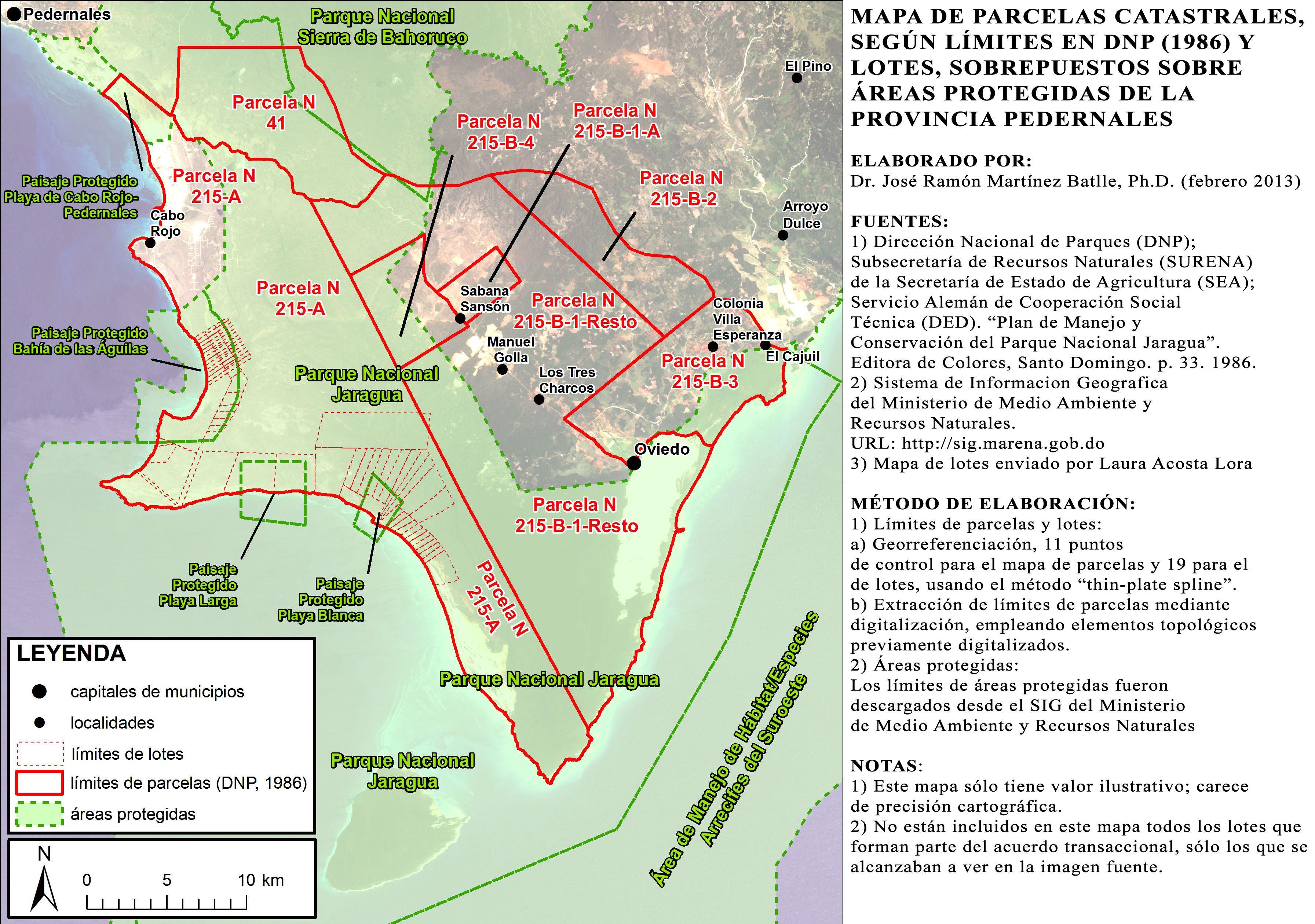 Mapa de parcelas catastrales, según límites en DNP (1986), mostrando lotes digitializados a partir de imagen enviada por Laura Acosta Lora; no están incluidos en este mapa todos los lotes que forman parte del acuerdo transaccional, sino sólo los que se alcanzaban a ver en la imagen fuente (hacer clic para una vista ampliada)